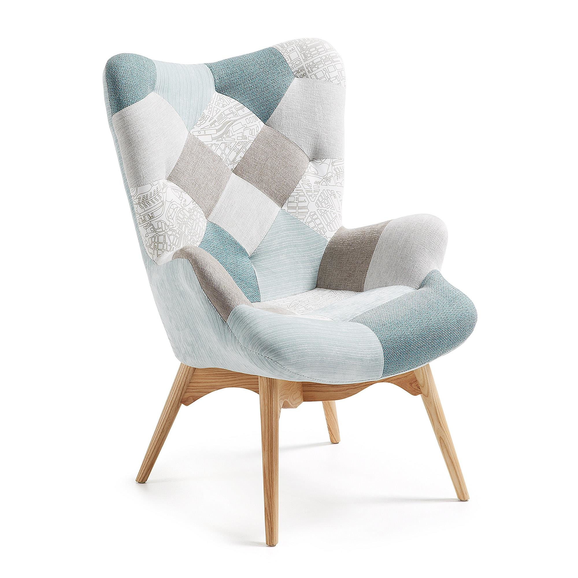 Fotel Knut jasnoniebieski patchwork