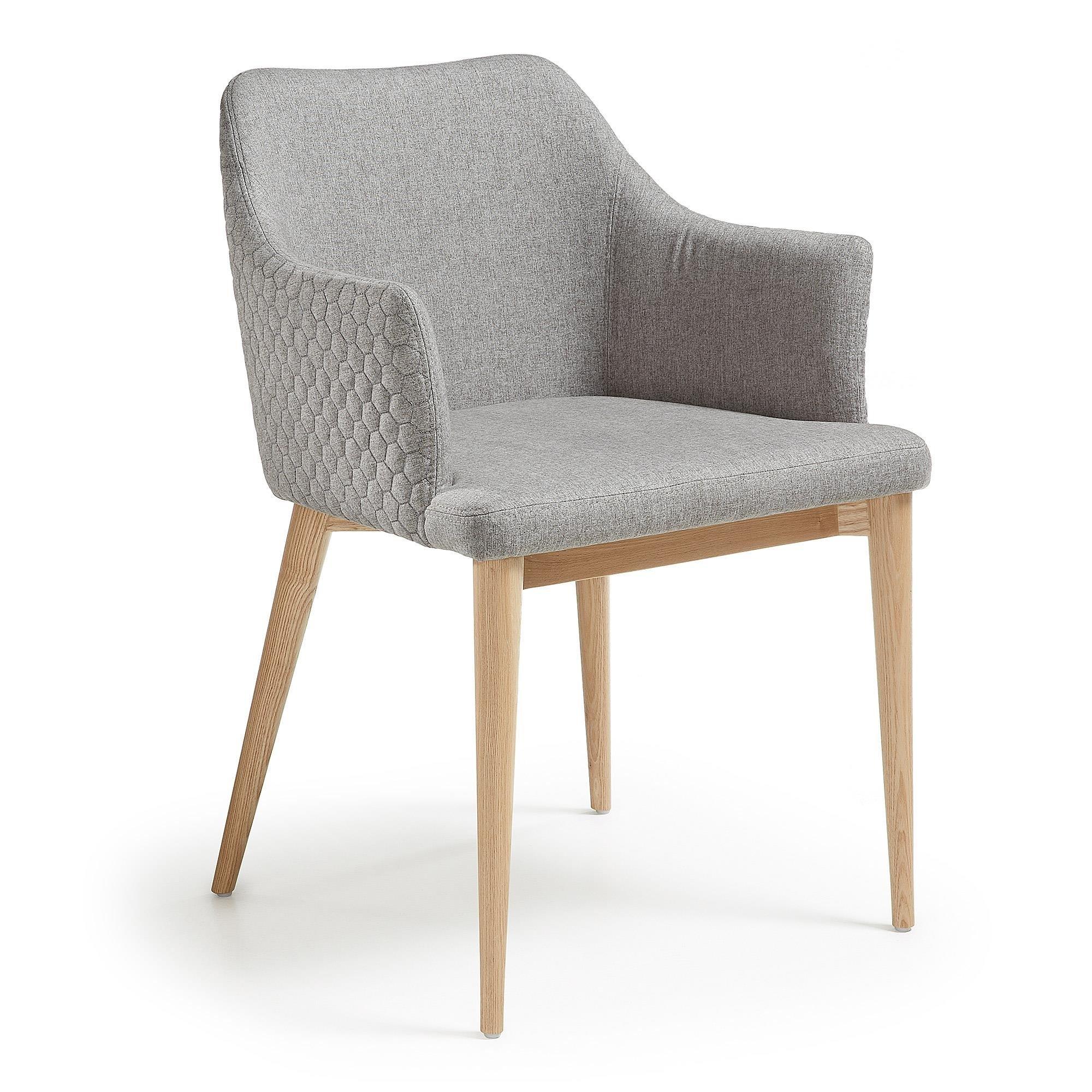 Krzesło Erida z podłokietnikami jasnoszare