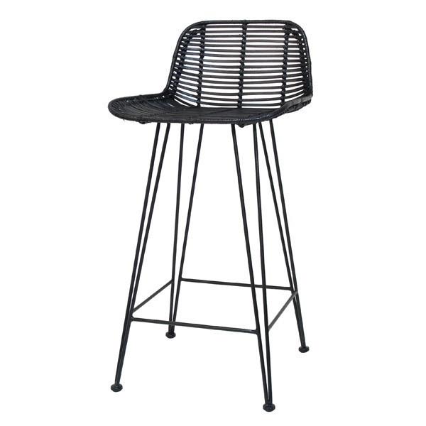 Hk Living :: Hoker / Krzesło barowe Rattanowe - czarny