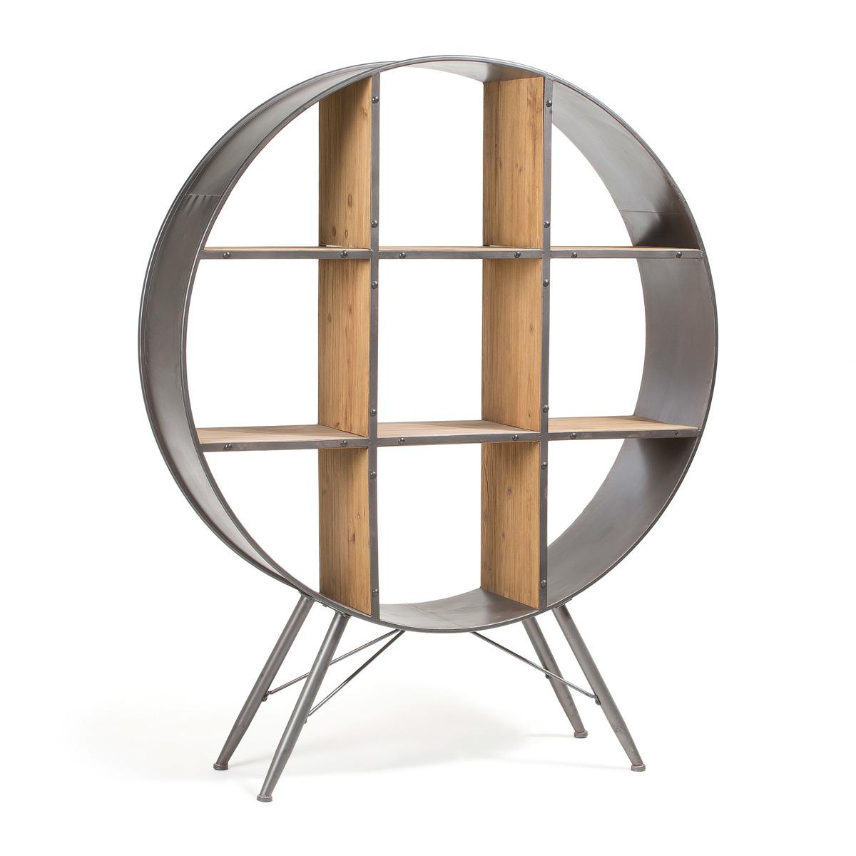 Regał PAZ drewniano-metalowy szary