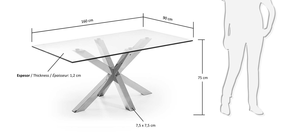Laforma arya table 200x100 st steel clear glass for Table 200x100