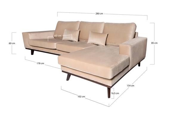 Corner Sofa right-sided Modena beige