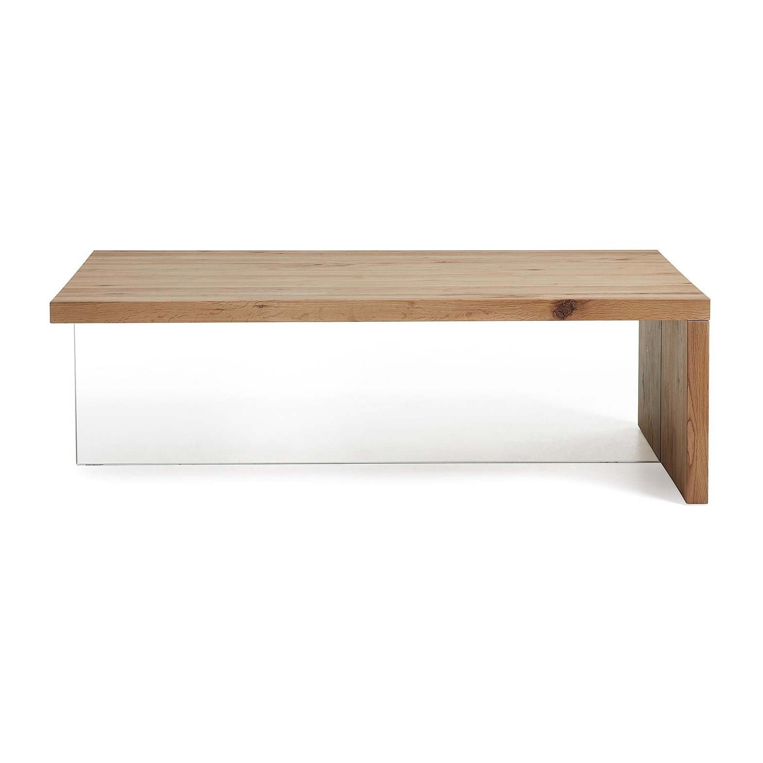 DIOS Coffee table glass top oak wood natural