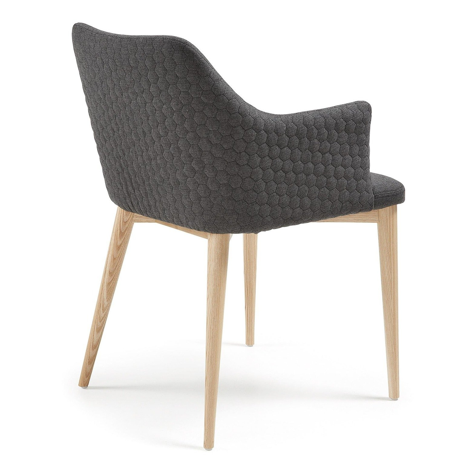 Erida Armchair nat wood quilted fabric dark gray