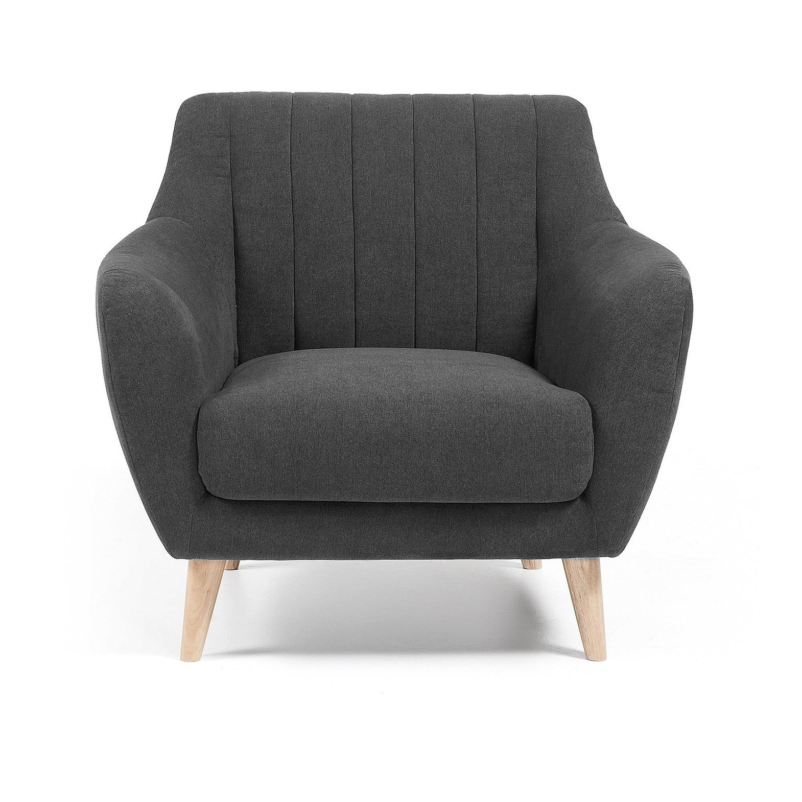 FRE Armchair natural wood, fabric dark gray