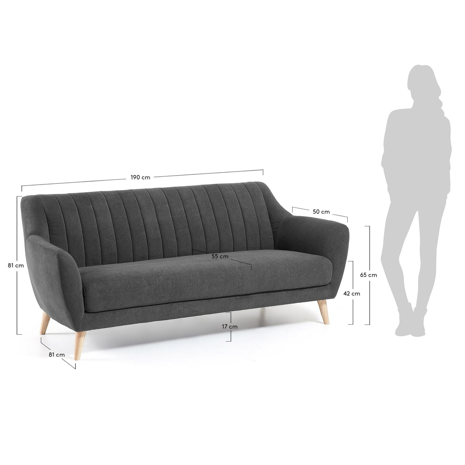 FRE Sofa 3 seaterl wooden legs, fabric dark gray