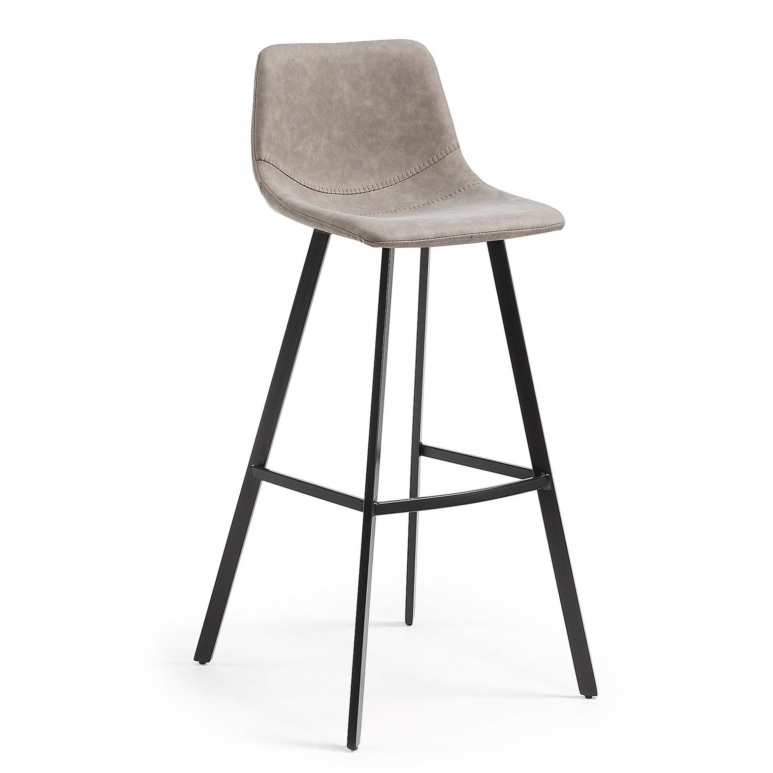 ANDREWS Barstool metal black PU taupe