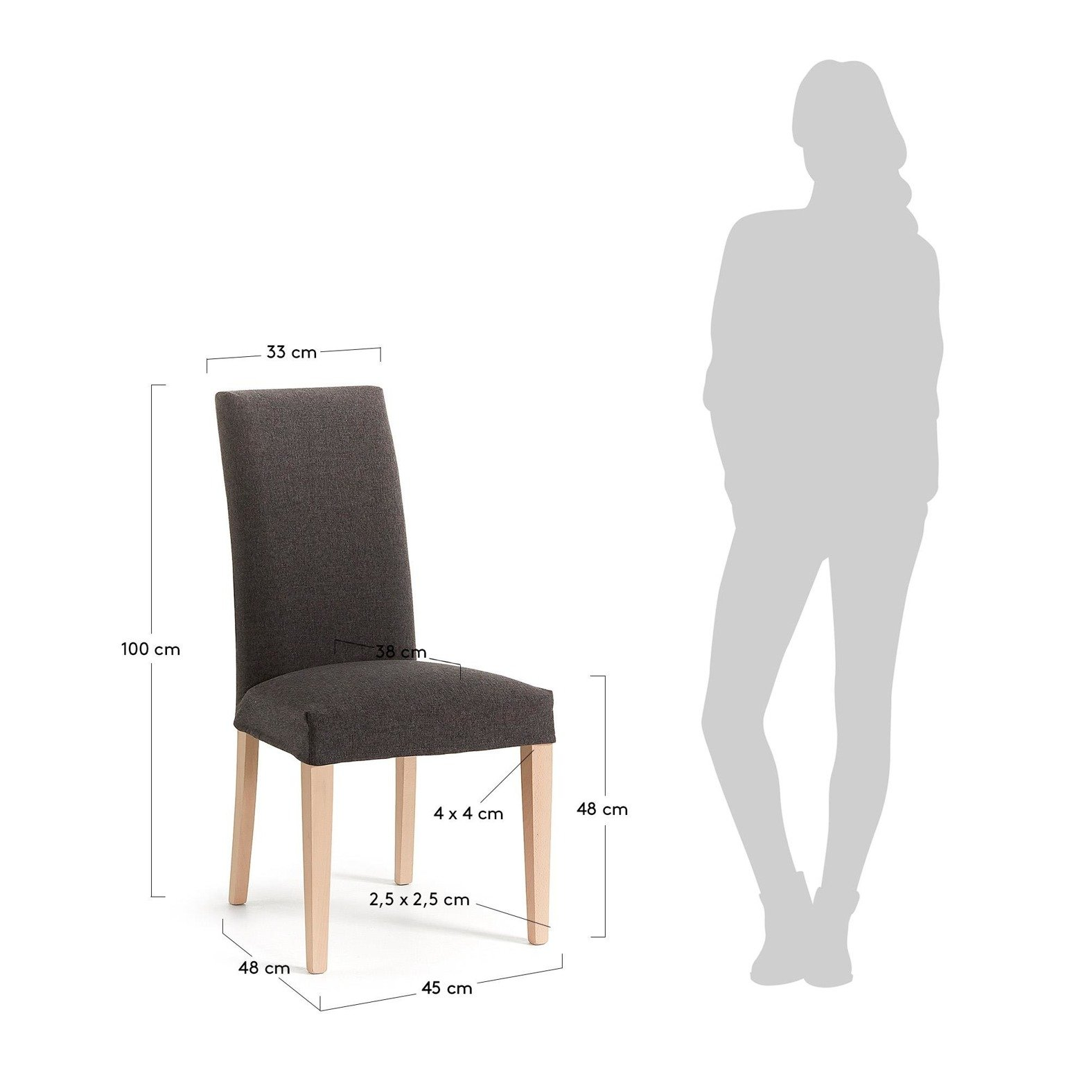 MERCEDE Chair removable natural wood fabric graphite