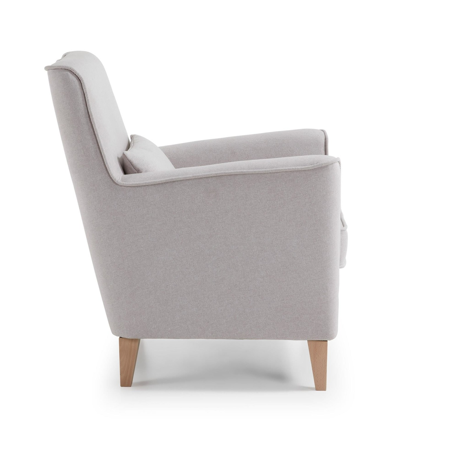 LaForma :: FYNA Armchair natural wood, fabric beige
