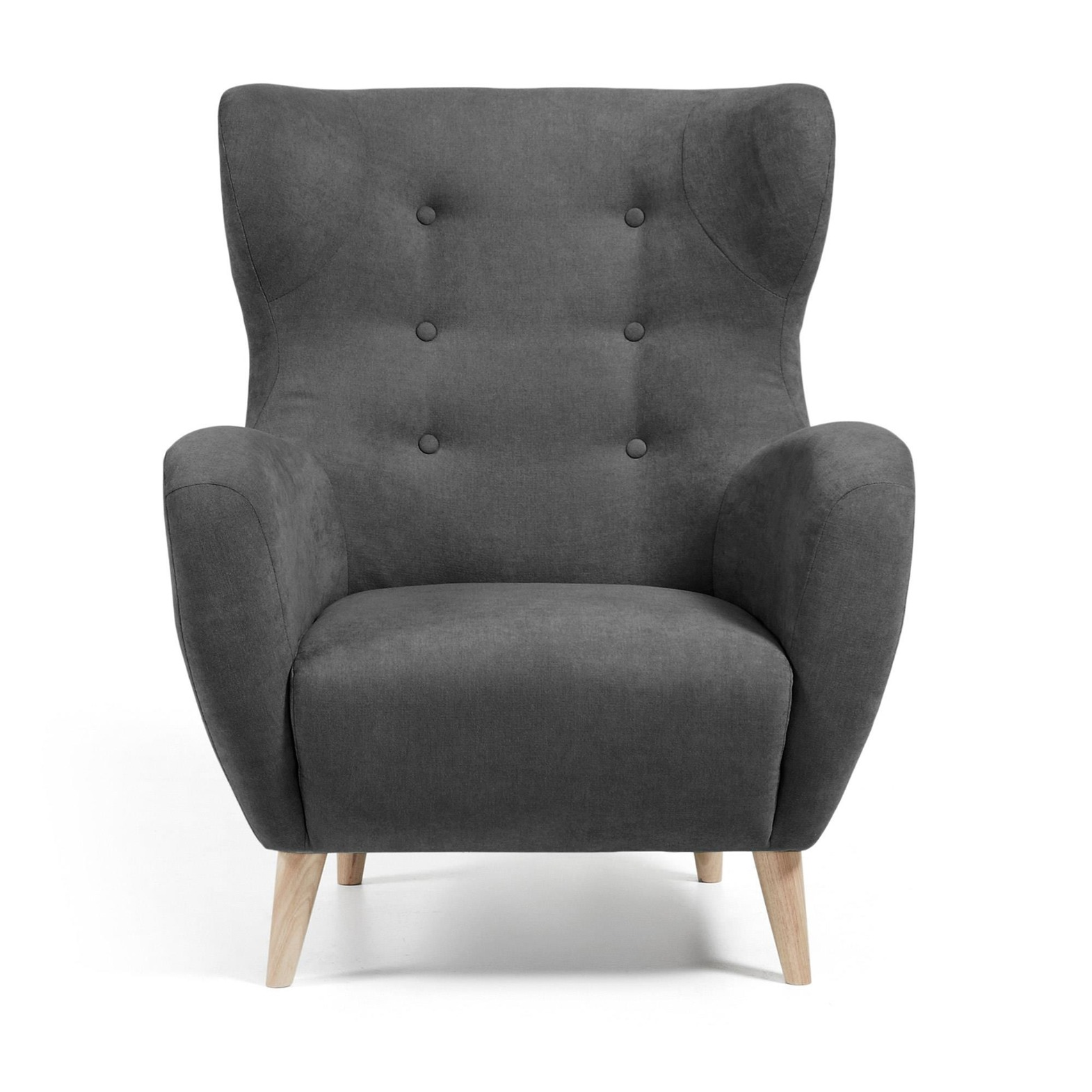LaForma :: PASSO Armchair natural wood, fabric dark grey