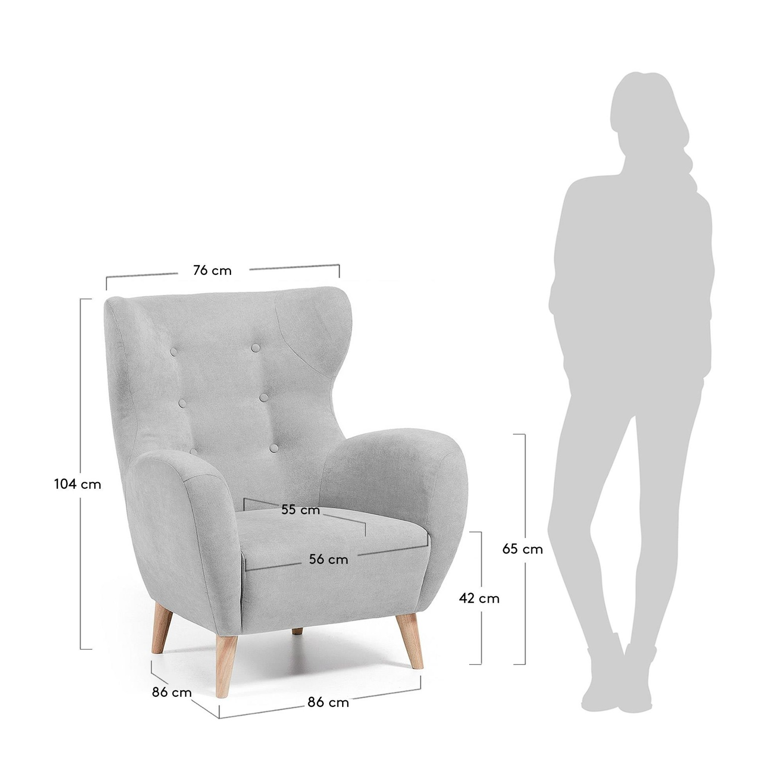 LaForma :: PASSO Armchair natural wood, fabric light grey
