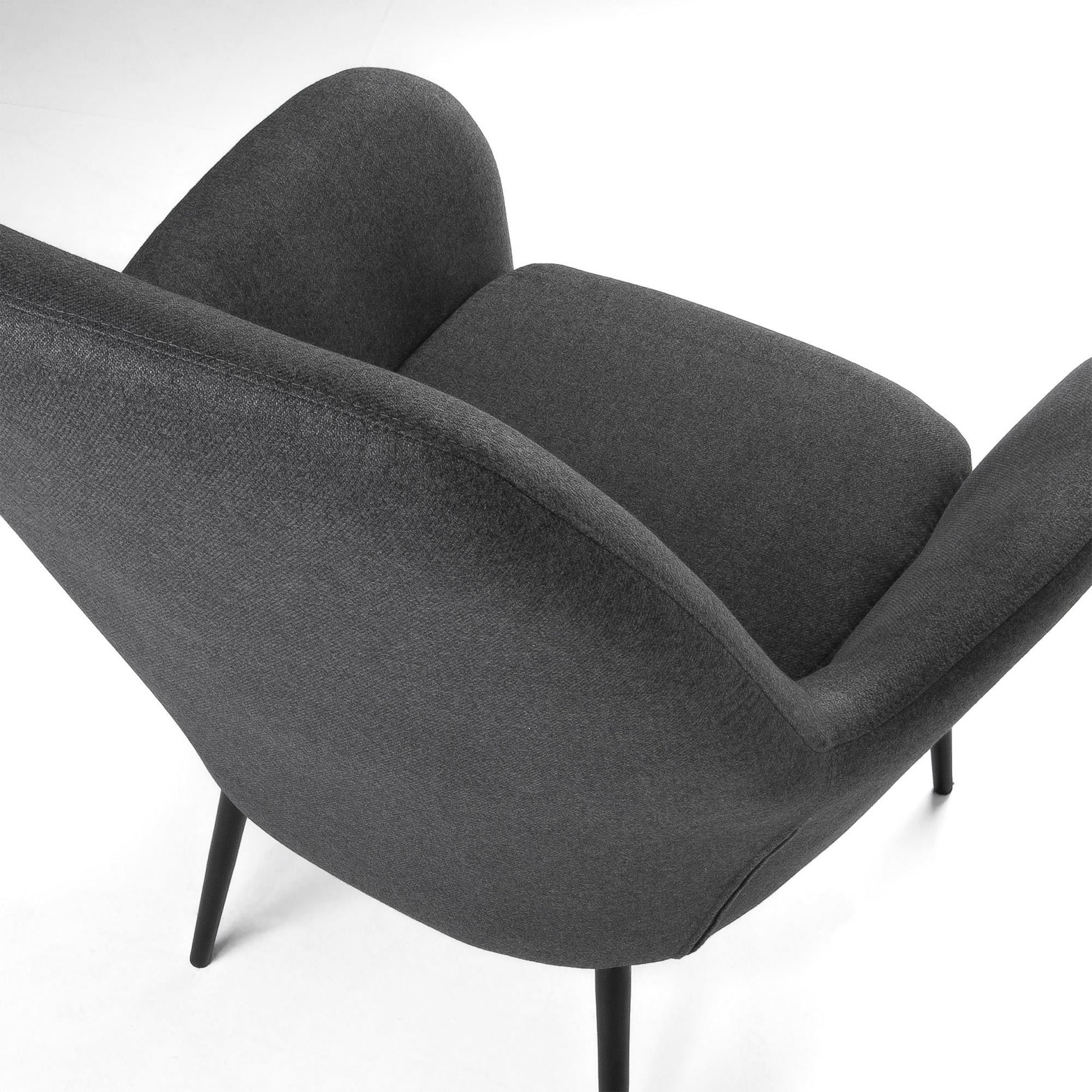 LaForma :: VALERIA Armchair metal black fabric dark grey