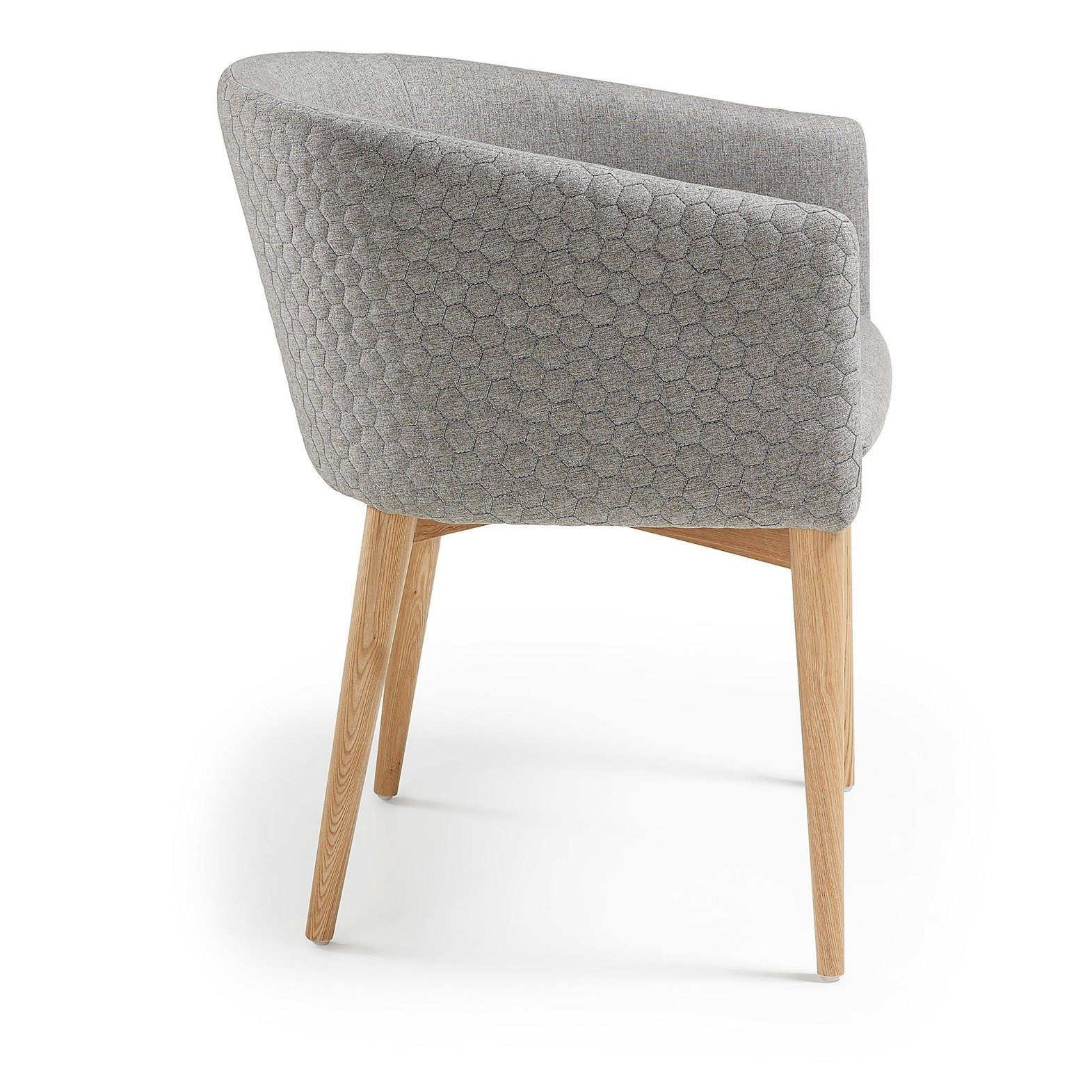 JOSE Armchair natural wood quilted fabric light gray
