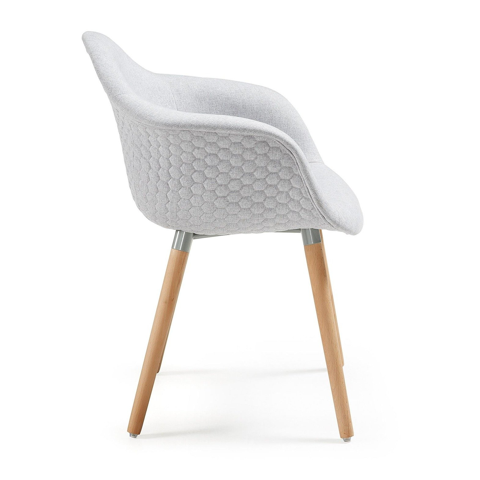 TOME Armchair natural wood, fabric, light gray