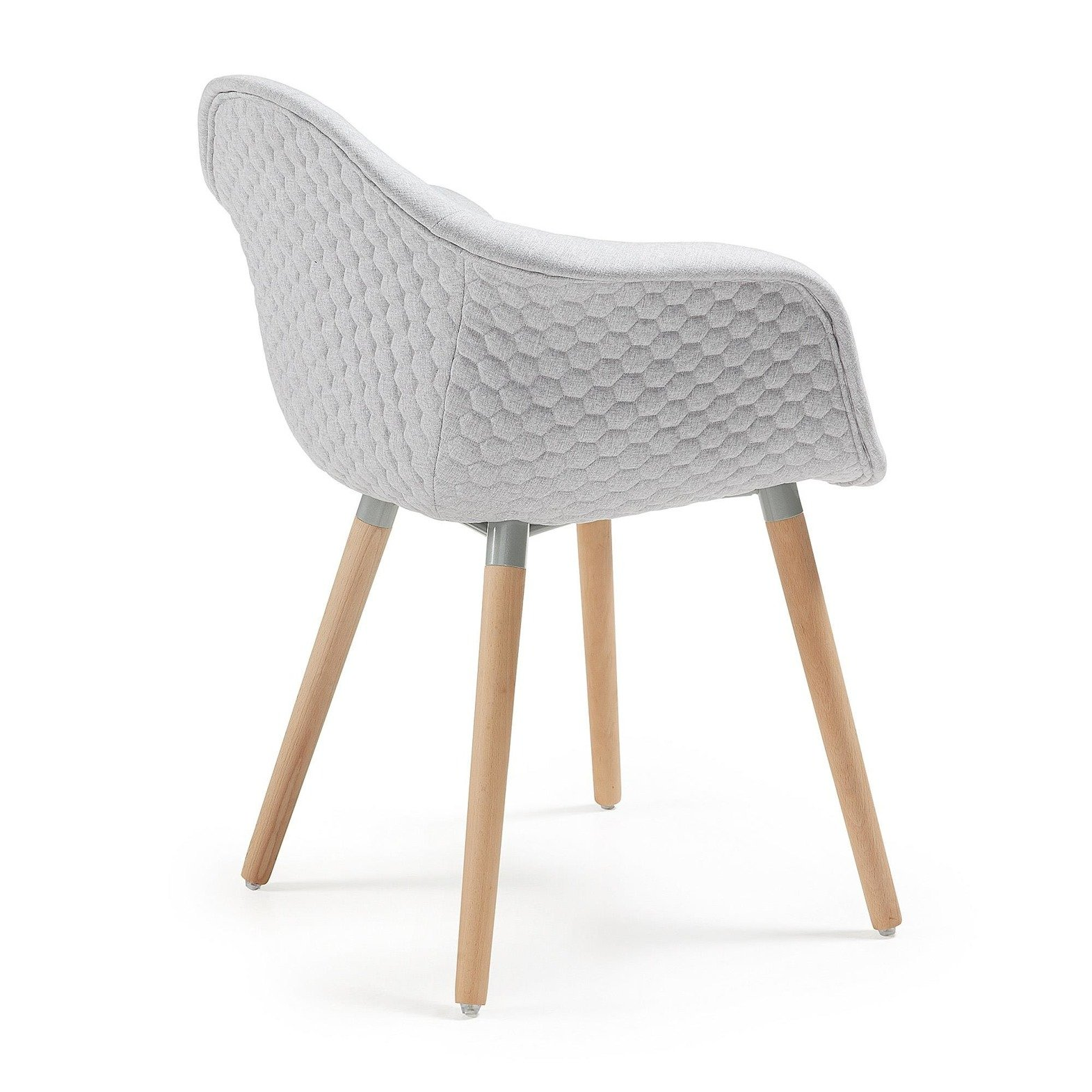 LaForma :: KENNA Armchair natural wood fabric light grey
