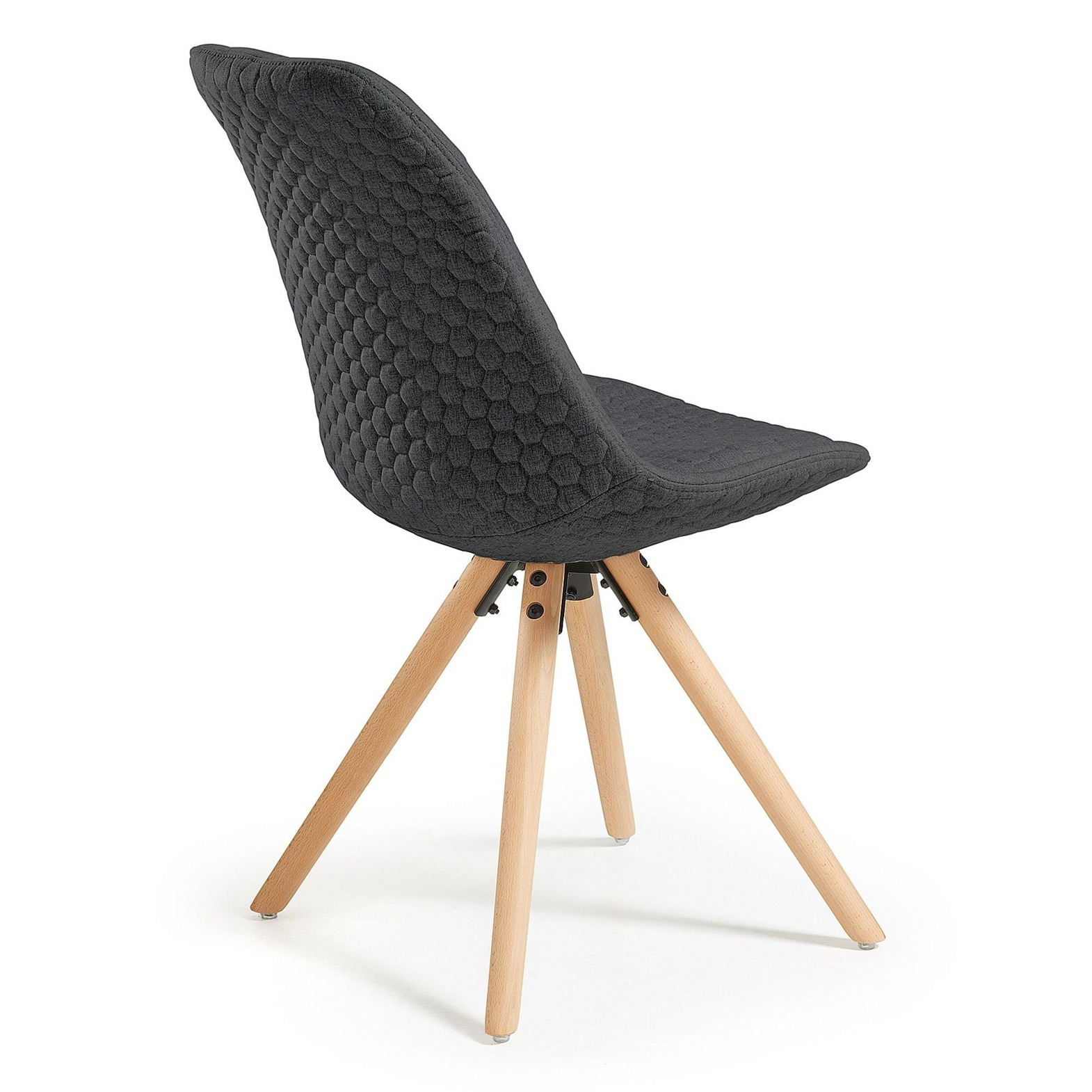 LaForma :: LARS Chair natural wood quilted fabric dark grey