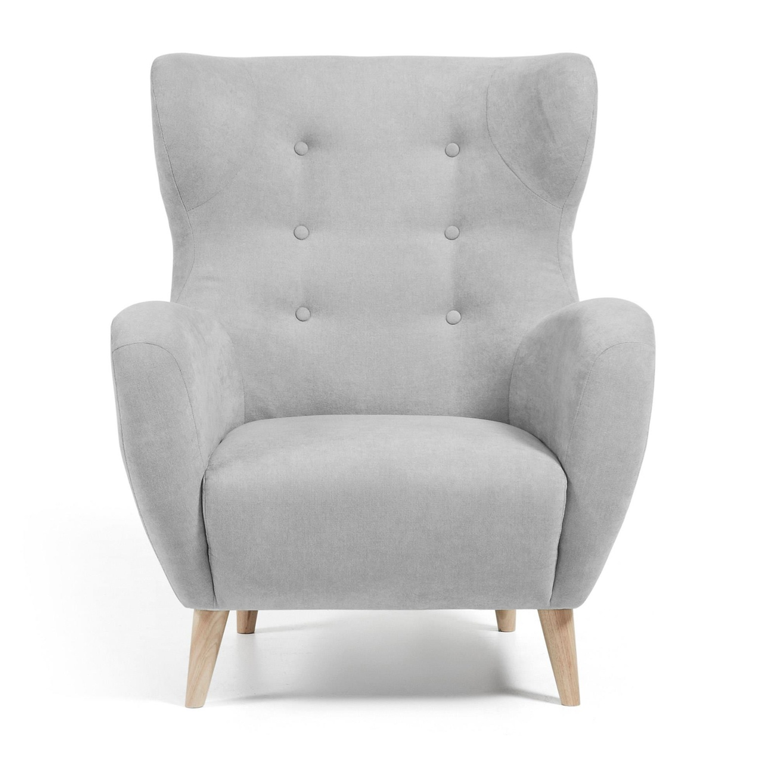 LaForma :: PASSO Armchair natural wood, fabric light gray