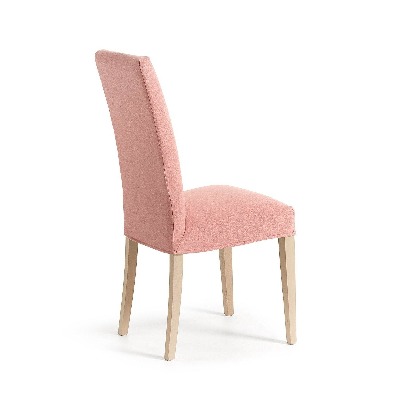 MERCEDE Chair removable natural wood fabric pink