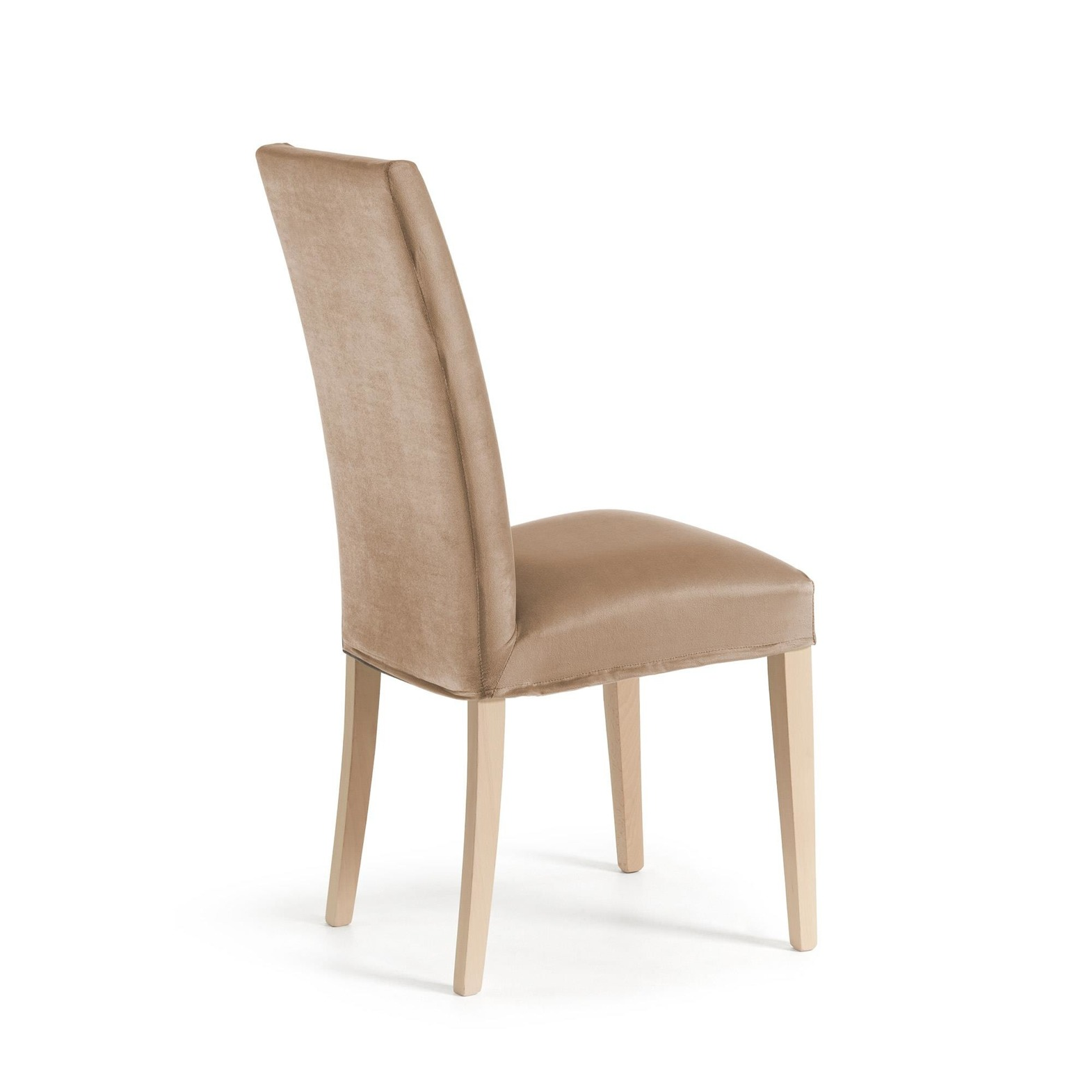 MERCEDE Chair removable natural wood fabric taupe