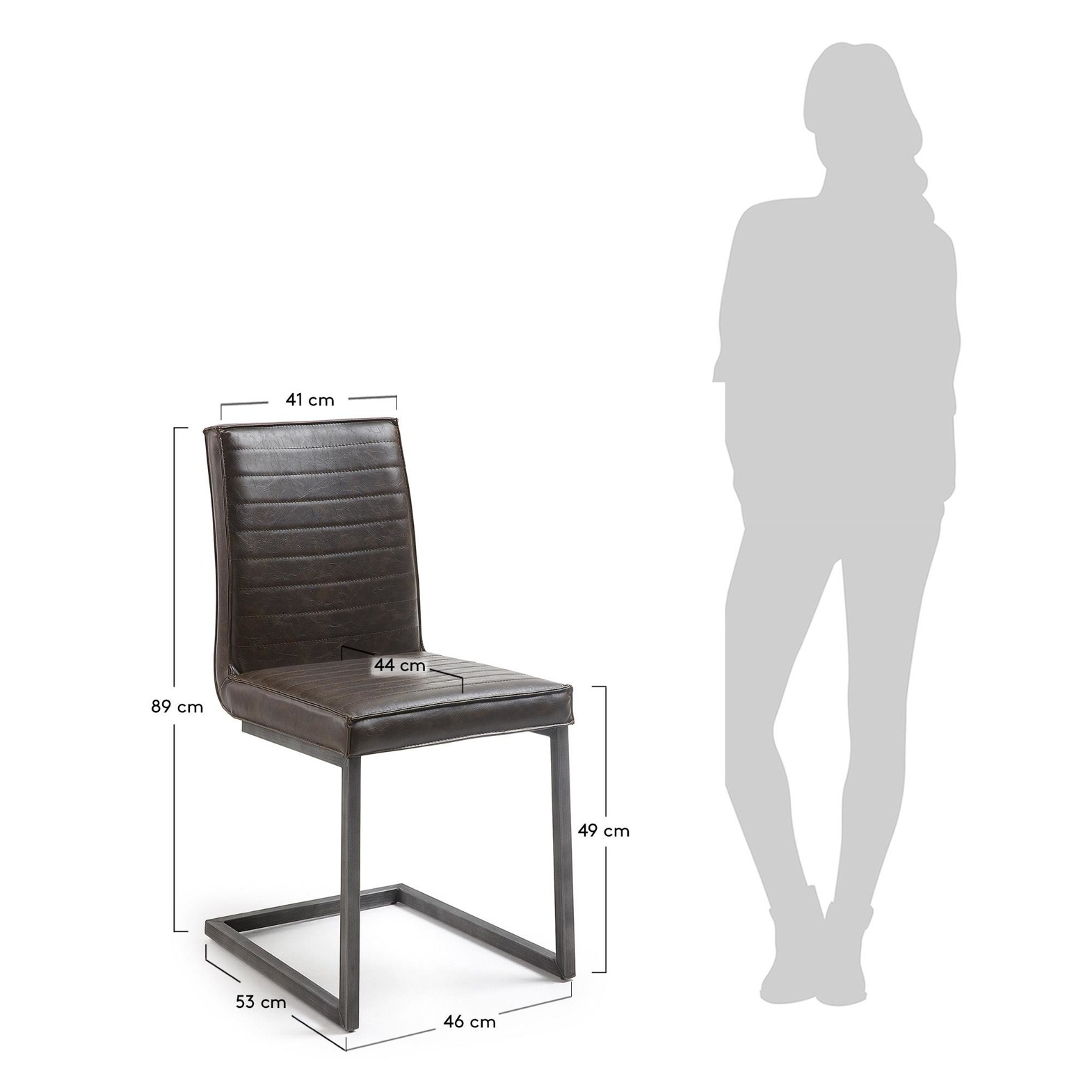 MUSCUL Chair metal brushed PU dark brown