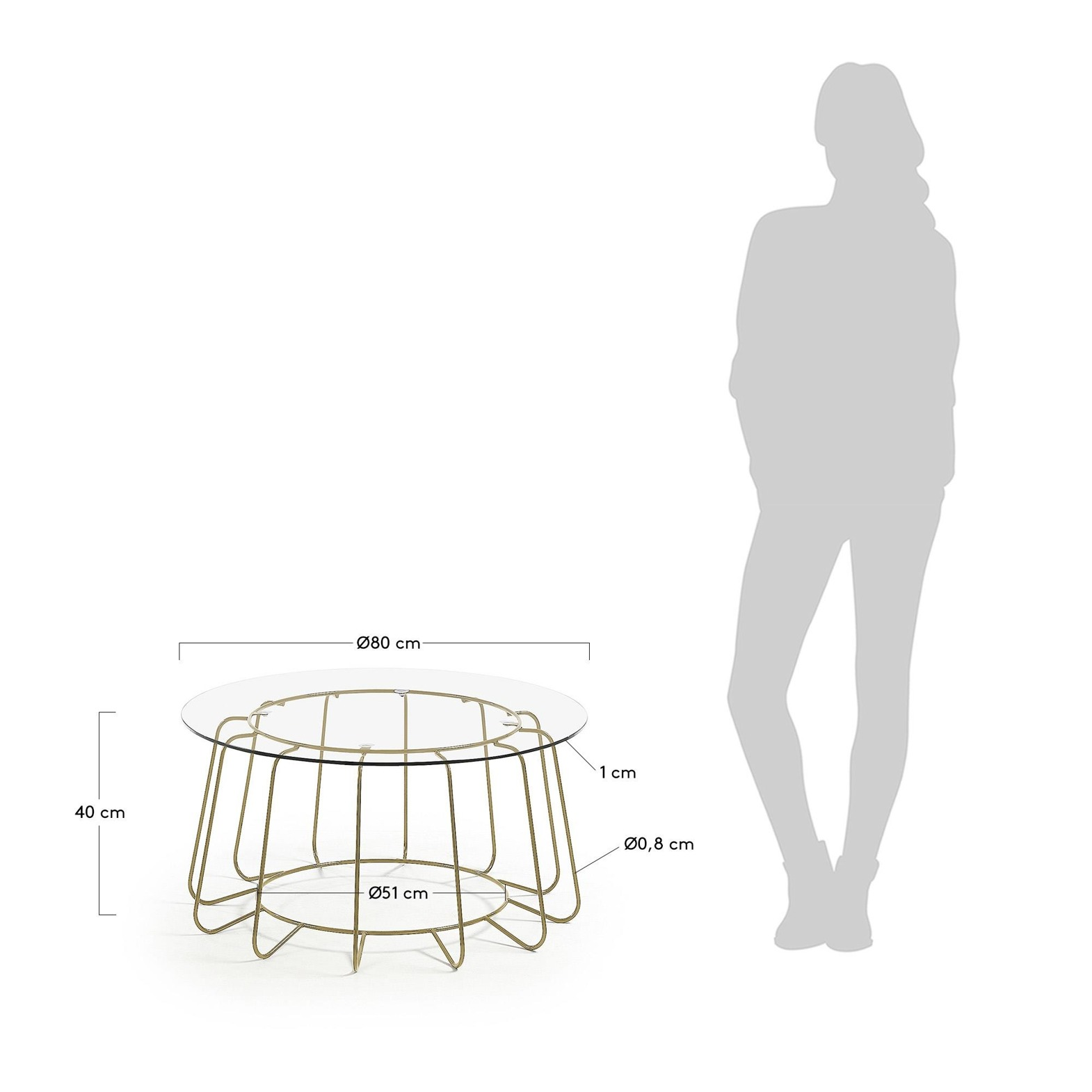 PARGON Coffee table Paradigm 80 cm with glass top and go