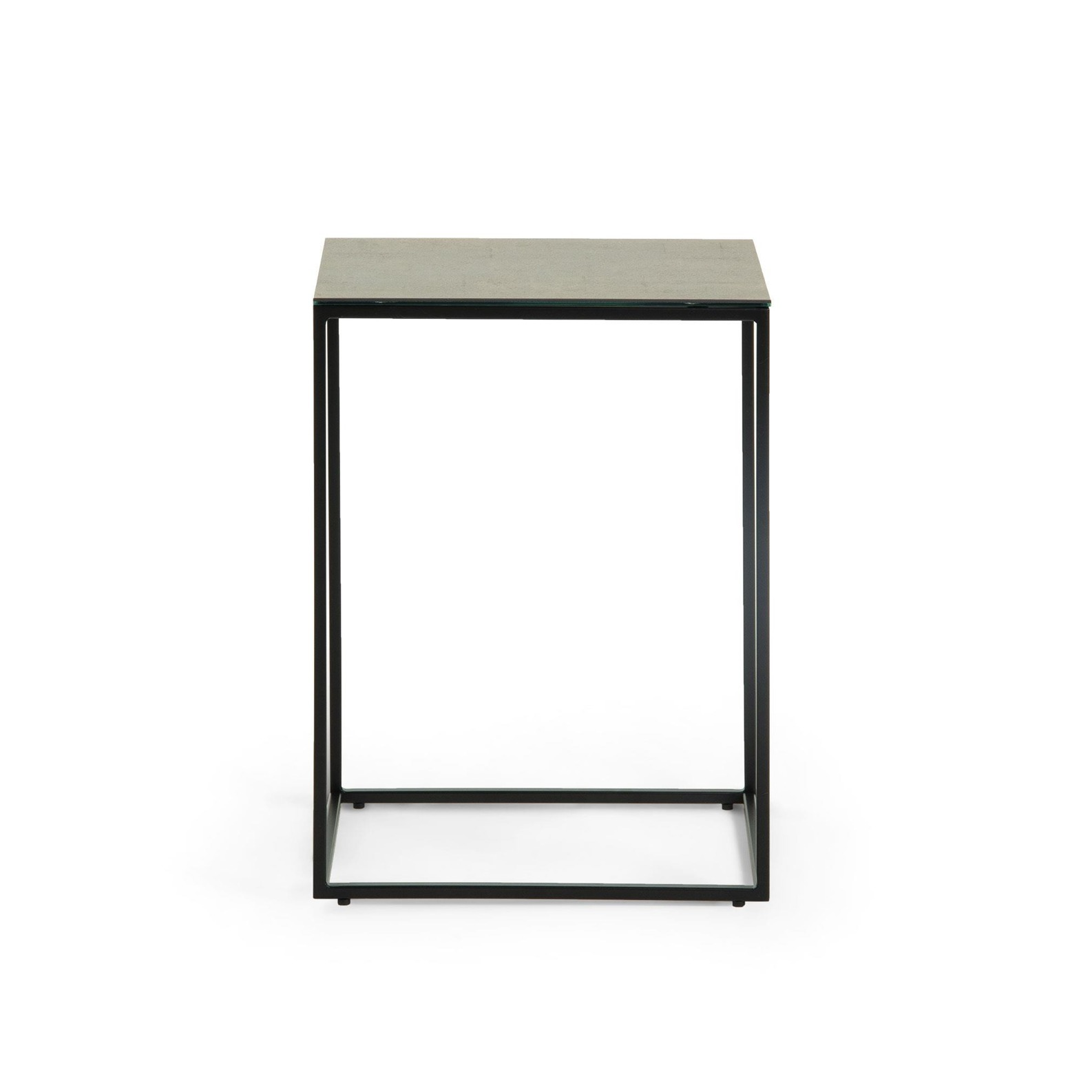 RAWENNA Side table black porcelain Iron Moss
