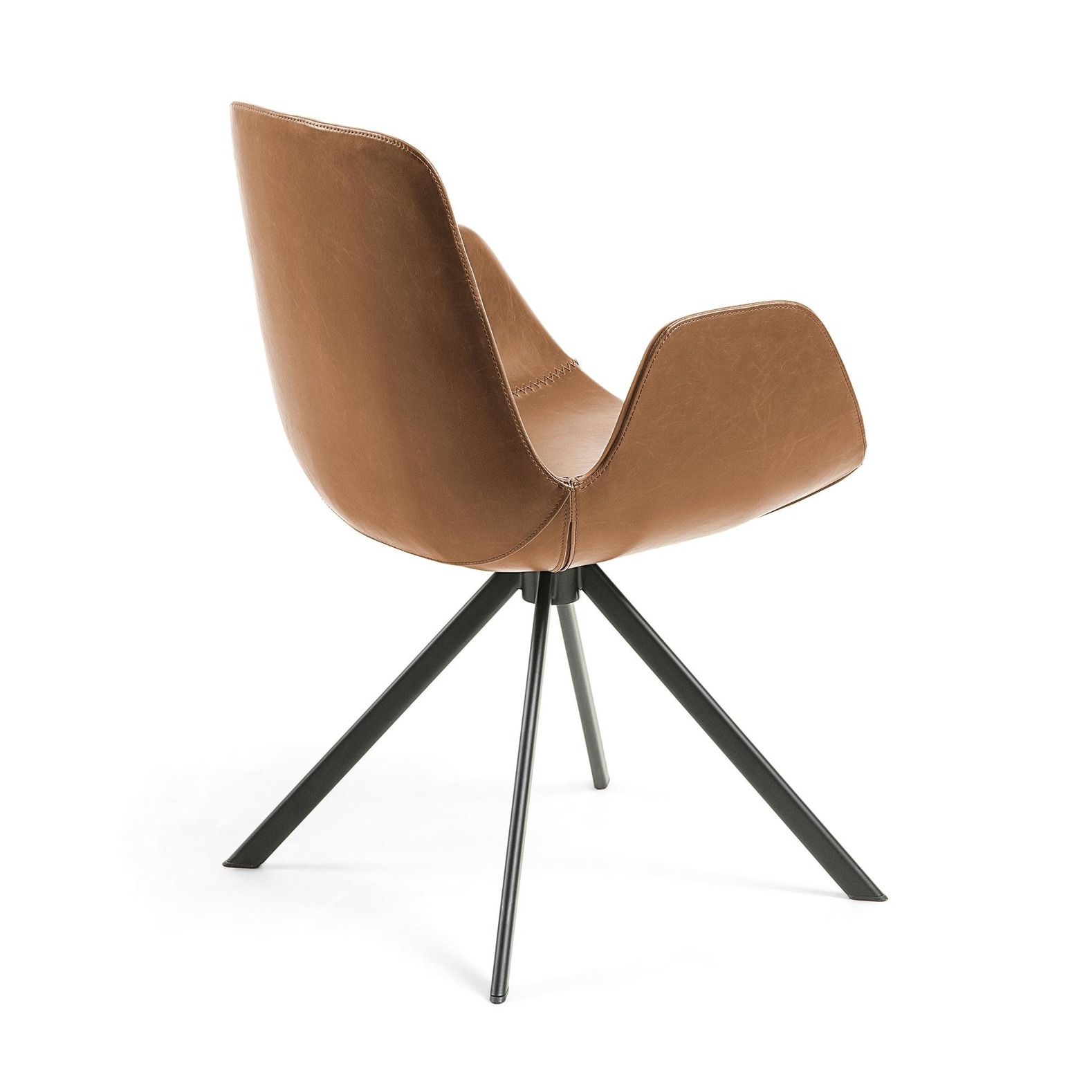 ULLA Armchair metal black PU brown