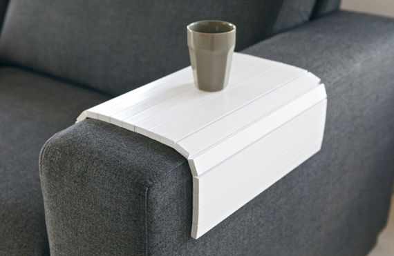 Woood :: Flexible stand on the sofa armrest - white