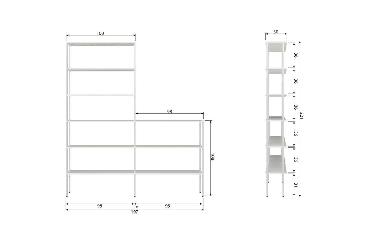 Woood :: Set of two shelves, low white middle