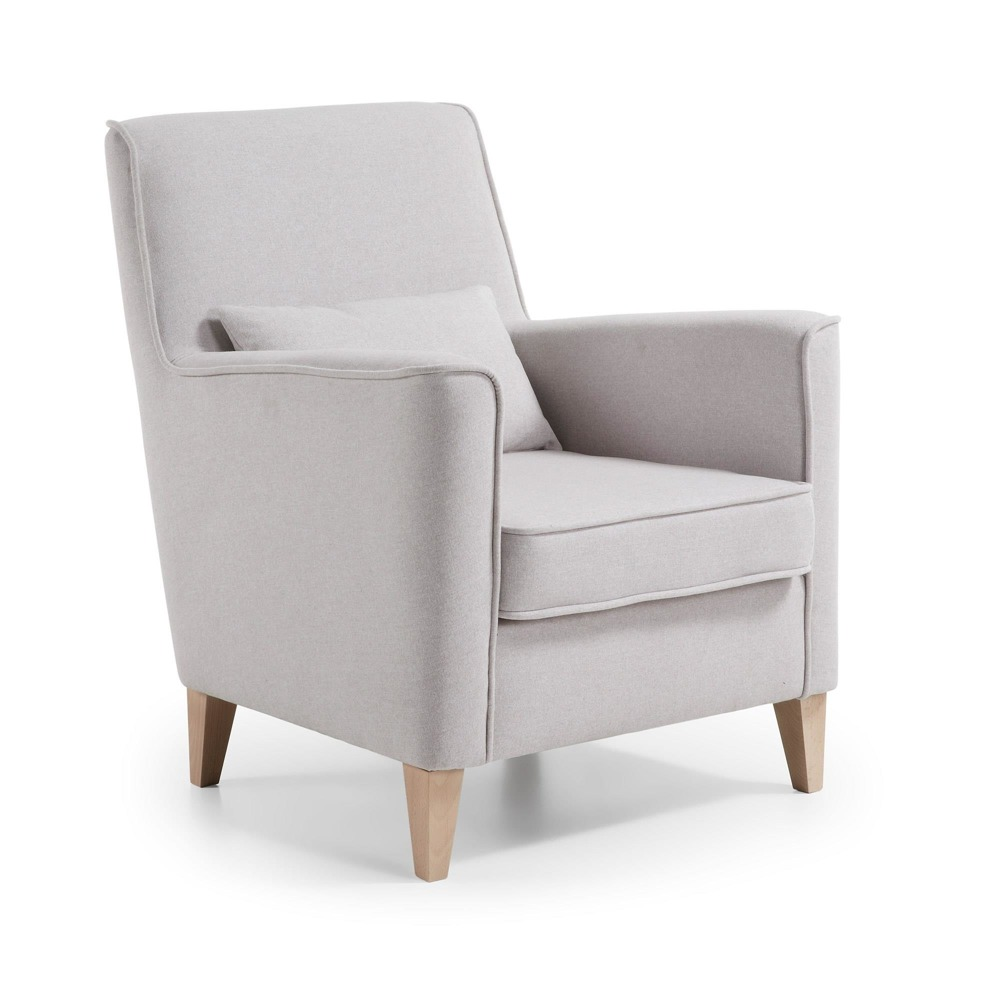 ARROY Armchair natural wood, fabric beige