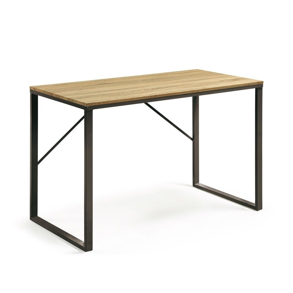 Desk TRANP 120x60 cm with MDF natural color top and metal painted structure