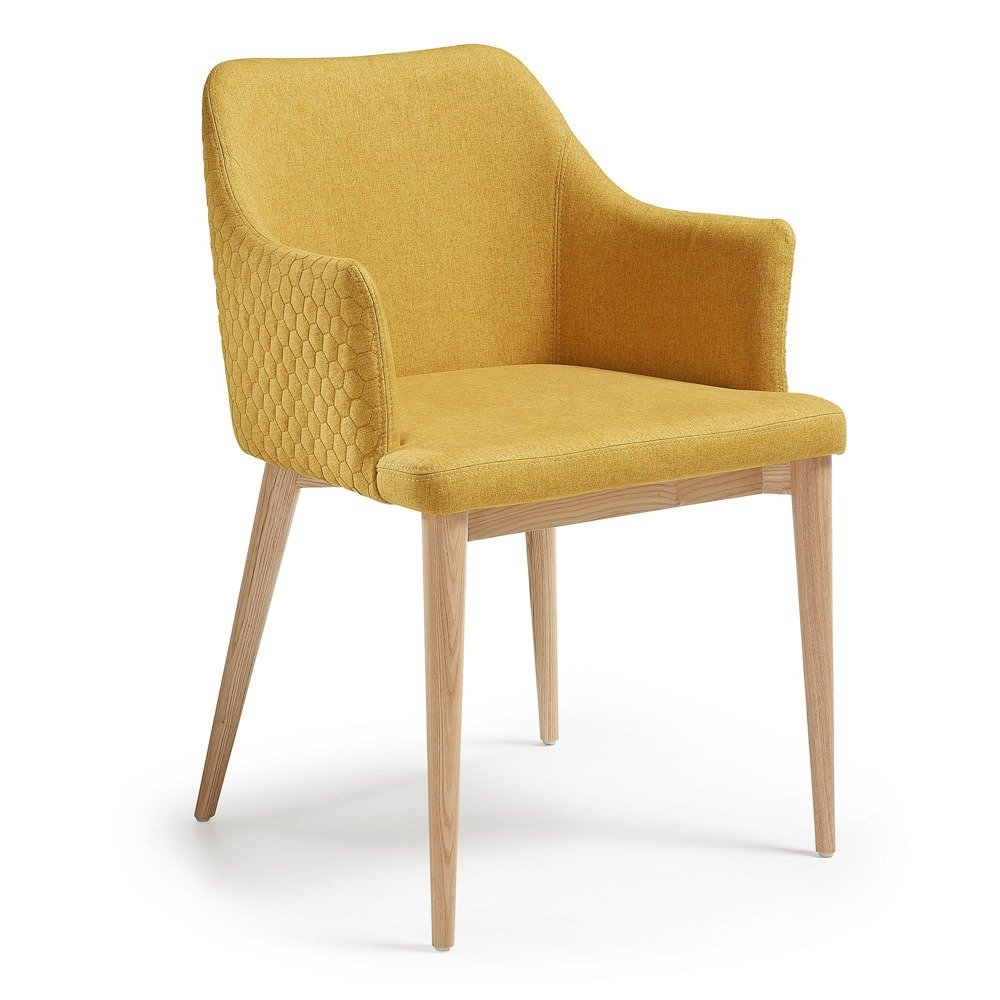 Erida Armchair nat wood quilted fabric mustard