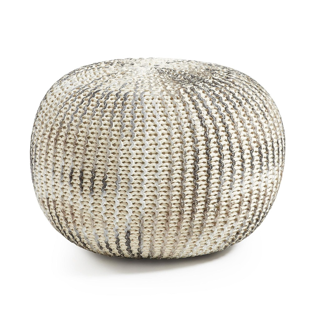 LaForma :: SHORE Pouf cotton white and silver