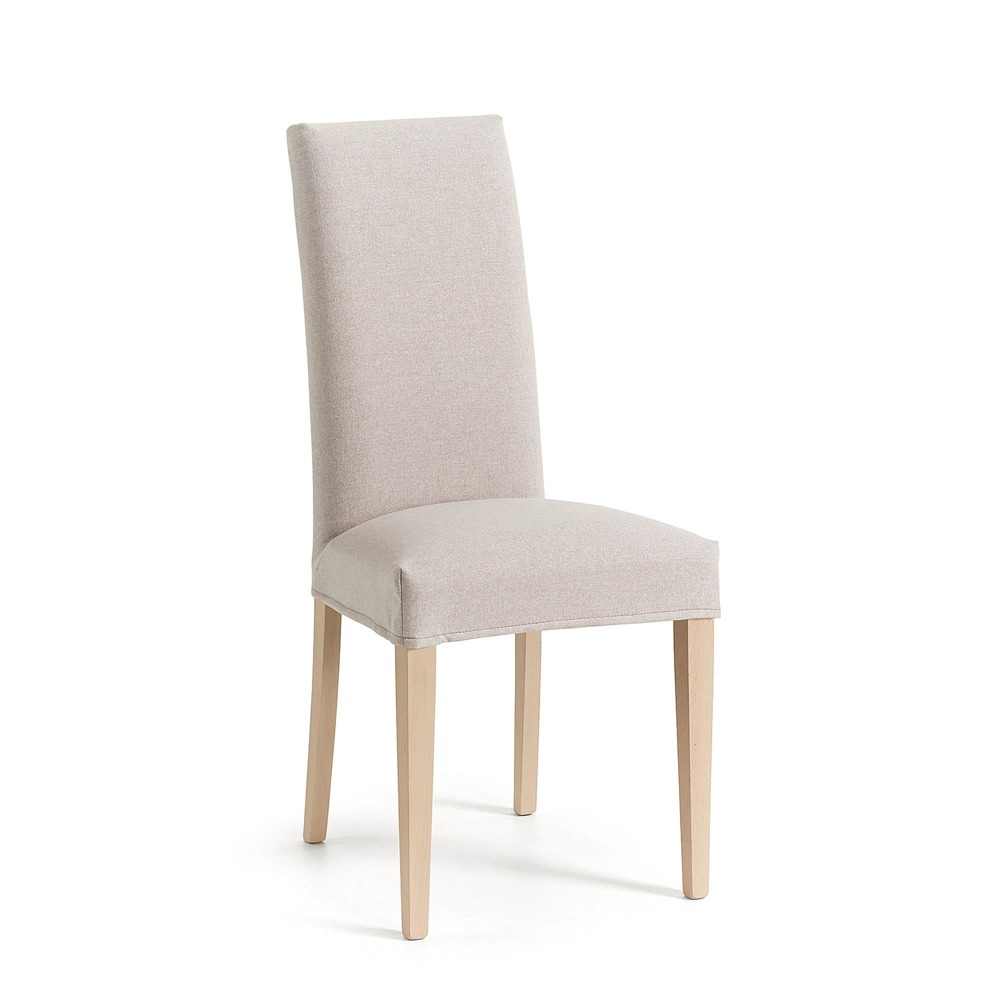 MERCEDE Chair removable natural wood fabric beige